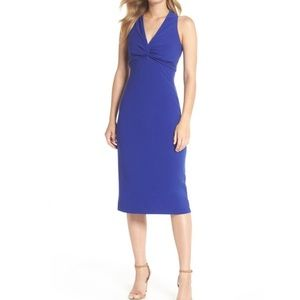 Maggy London Blue Knot Front Midi Dress